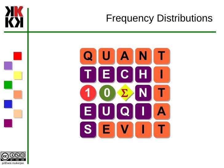 Frequency Distributions Q U A N T T E C H I N T E U Q I A S E V I T 1 0 S
