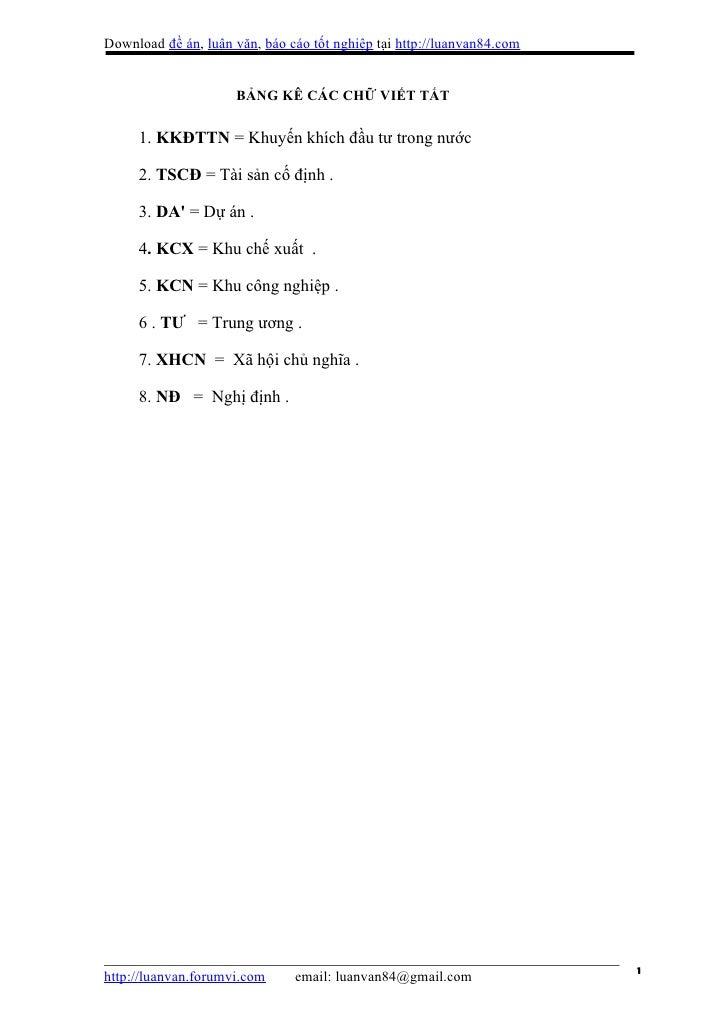 Download đề án, luận văn, báo cáo tốt nghiệp tại http://luanvan84.com                     BẢNG KÊ CÁC CHỮ VIẾT TẮT     1. ...