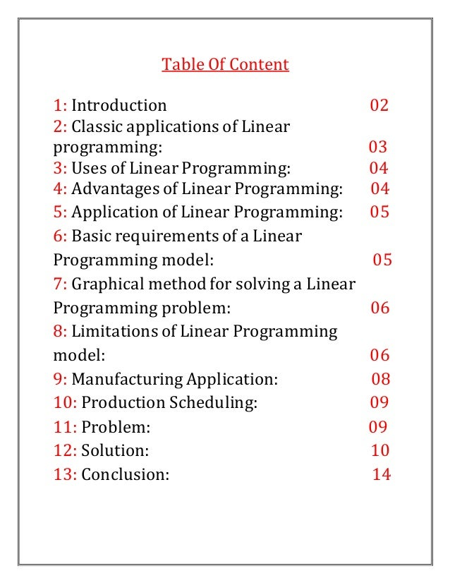 advantages and limitations of linear programming