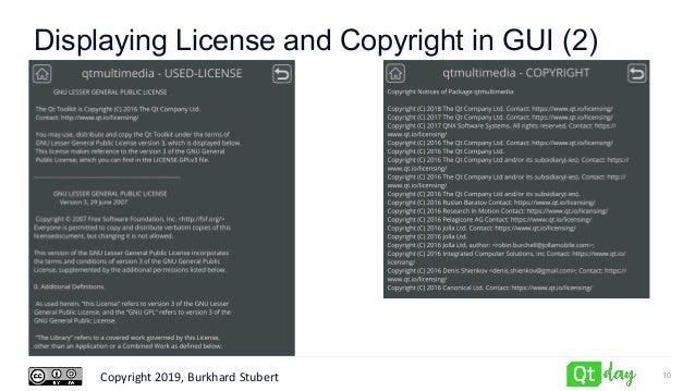 Copyright 2019, Burkhard Stubert Displaying License and Copyright in GUI (2) 10