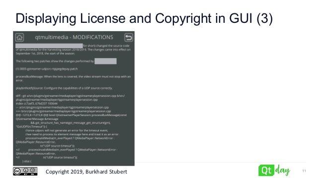 Copyright 2019, Burkhard Stubert Displaying License and Copyright in GUI (3) 11