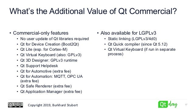Copyright 2019, Burkhard Stubert What's the Additional Value of Qt Commercial? • Commercial-only features • No user update...