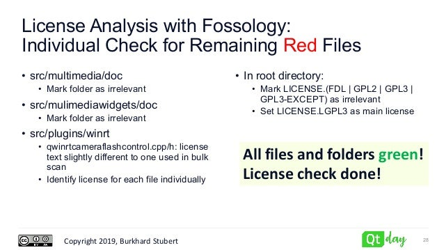 Copyright 2019, Burkhard Stubert License Analysis with Fossology: Individual Check for Remaining Red Files • src/multimedi...