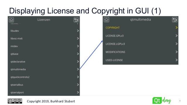 Copyright 2019, Burkhard Stubert Displaying License and Copyright in GUI (1) 9