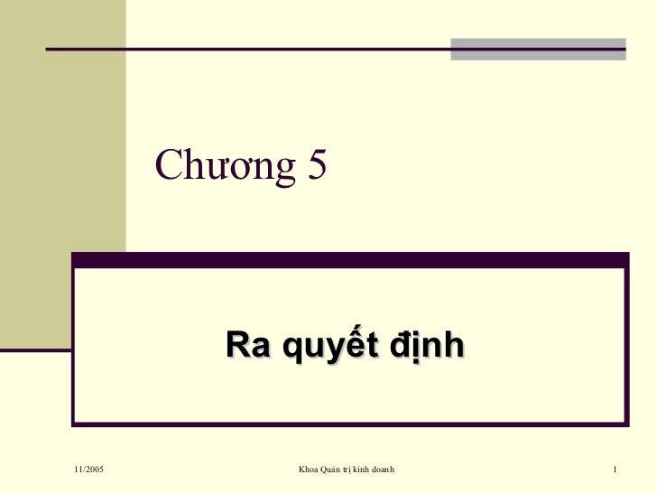 Chương 5 Ra quyết định