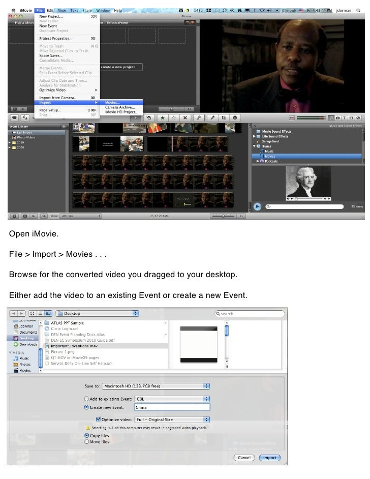 quicktime mov files in imovie 09 rh slideshare net iMovie Event Library Ideas for an iMovie
