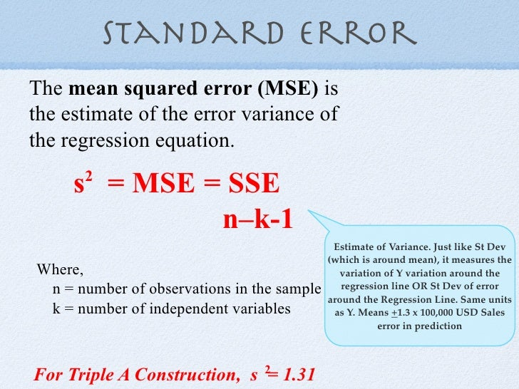 variance and standard error relationship