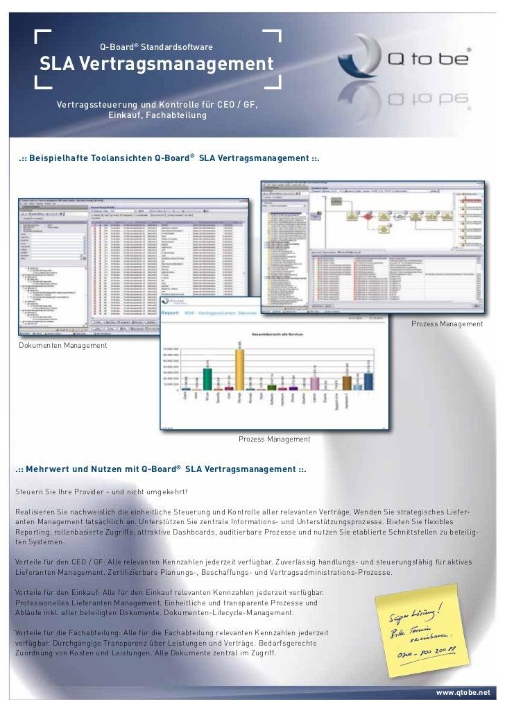 Q-Board® Standardsoftware      SLA Vertragsmanagement            Vertragssteuerung und Kontrolle für CEO / GF,            ...