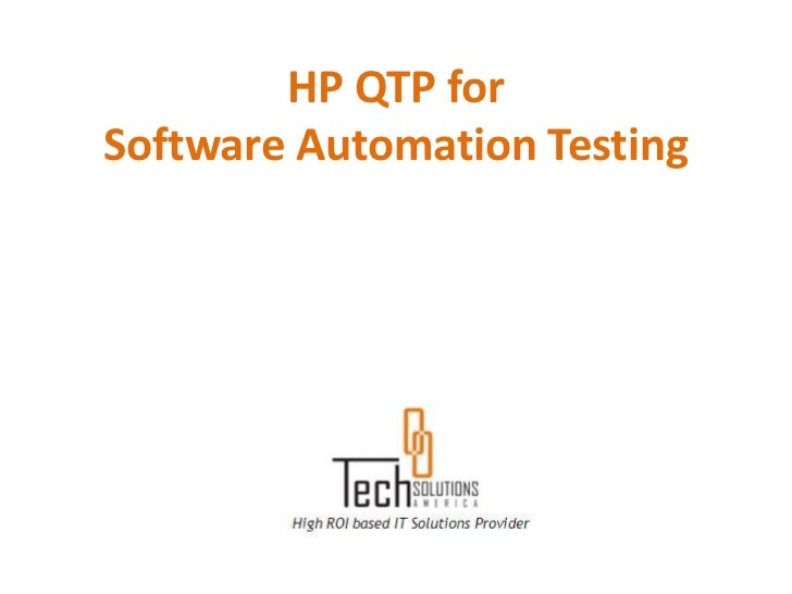 HP QTP forSoftware Automation Testing