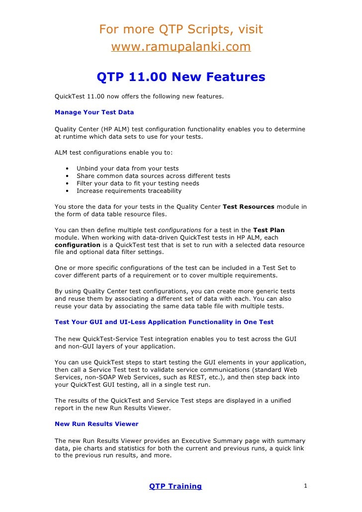 Qtp 11 new enhacements in