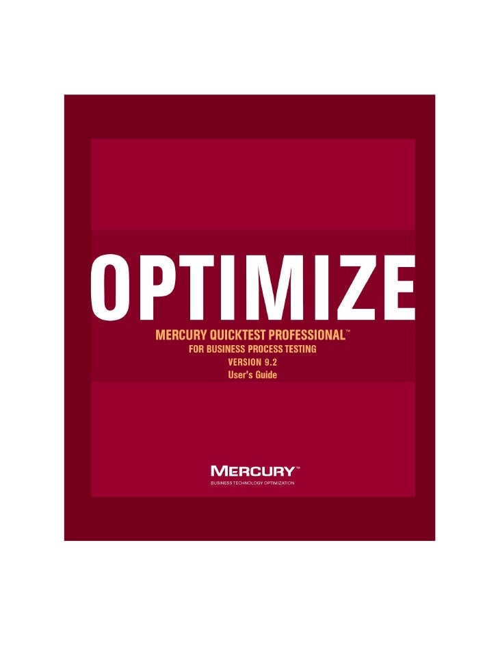 Mercury QuickTest Professional  for Business Process Testing                                User's Guide                  ...