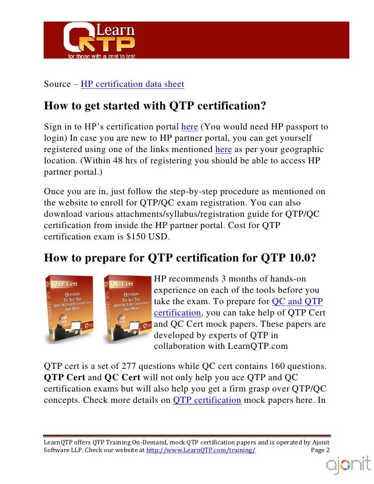 qtp certification guide rh slideshare net HP QuickTest Professional Tutorial HP QuickTest Professional 10.0 Evaluation