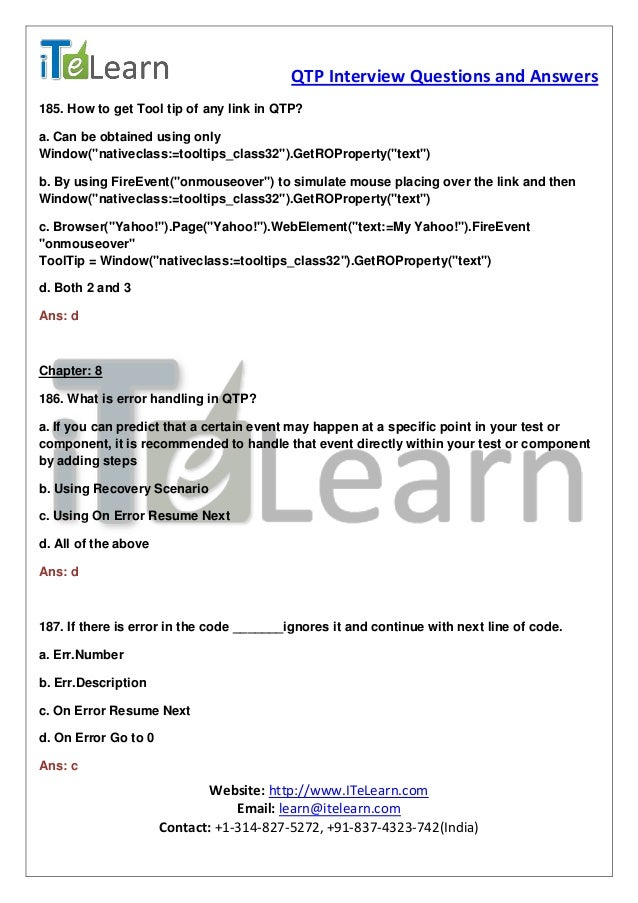 Qtp Interview Questions And Answers