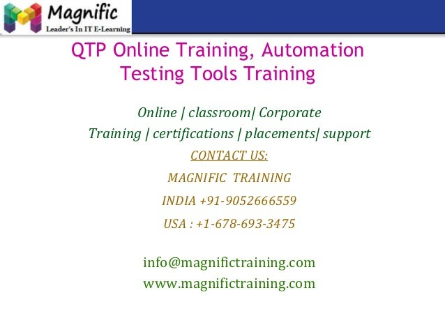 QTP Online Training, Automation Testing Tools Training Online | classroom| Corporate Training | certifications | placement...