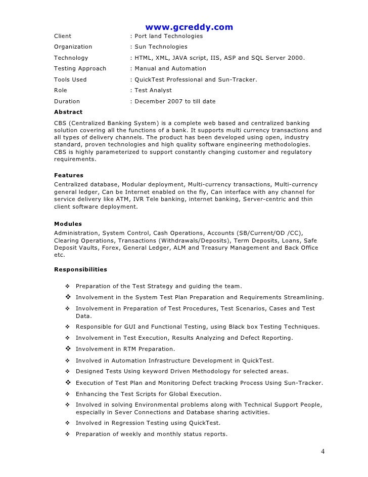 Stunning Manual Testing Resume Sample 1 Pictures - Office Worker ...