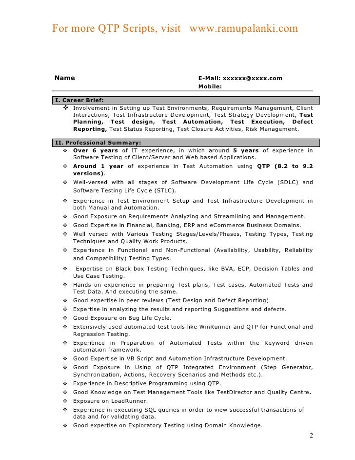 Qtp sample resume for Sample resume for 2 years experience in net