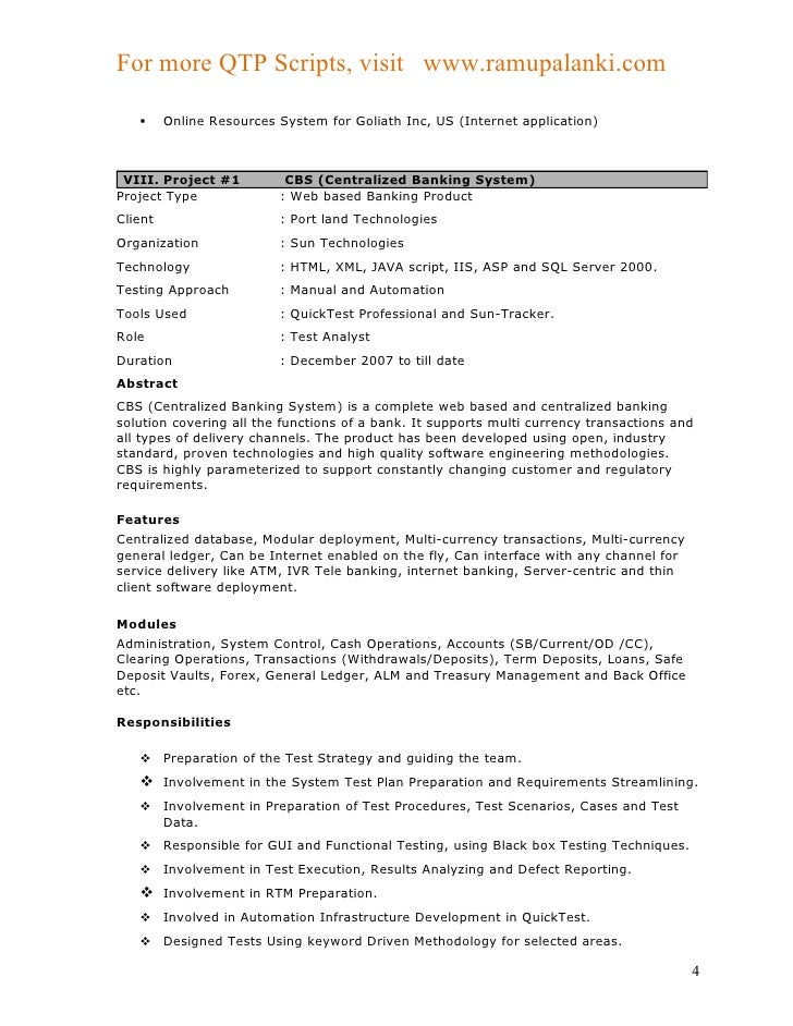 qtp resume sample april onthemarch co