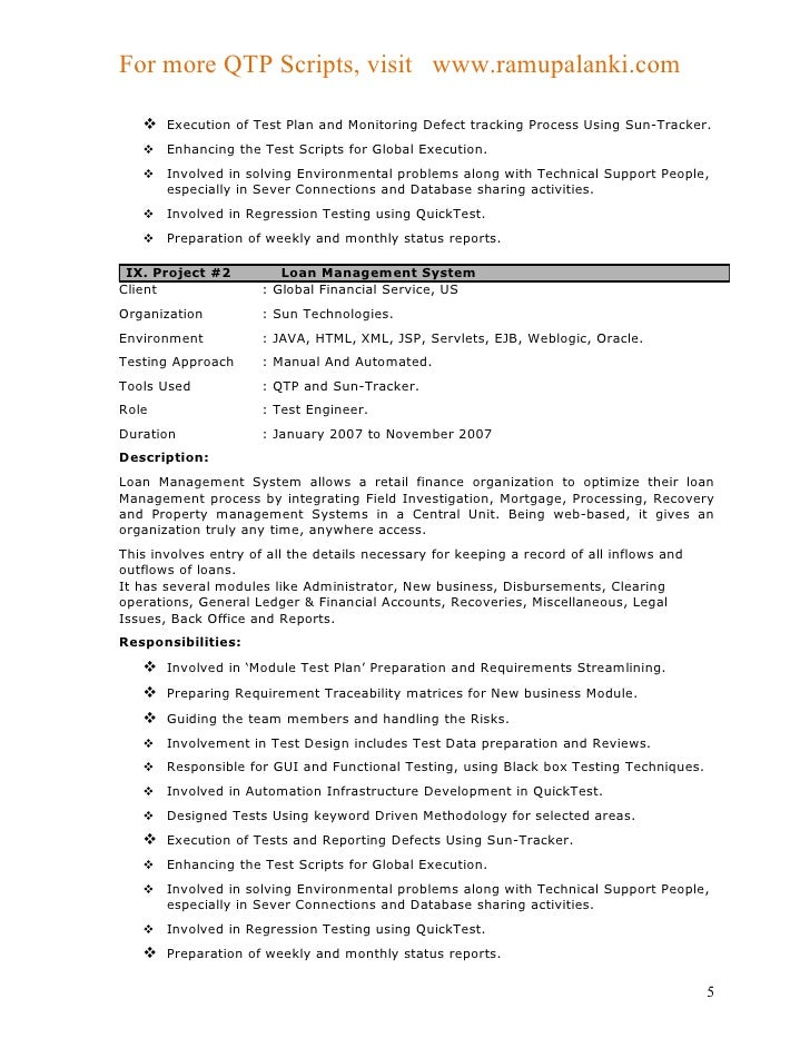 qtp sample resume