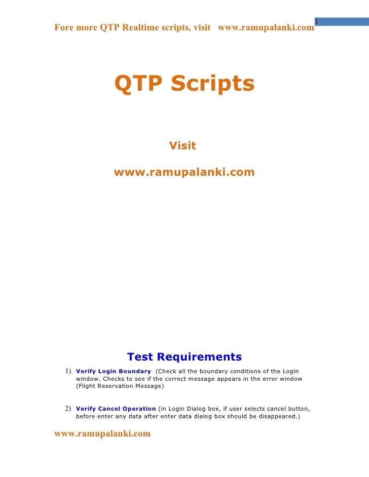 1Fore more QTP Realtime scripts, visit www.ramupalanki.com                 QTP Scripts                                   V...