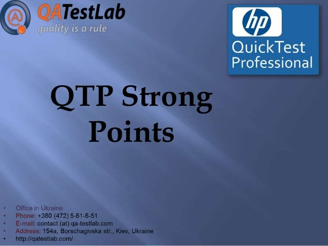 QTP Strong Points