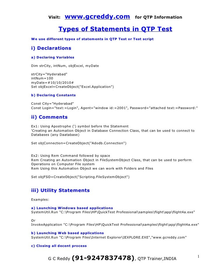Visit:   www.gcreddy.com                         for QTP Information               Types of Statements in QTP TestWe use d...