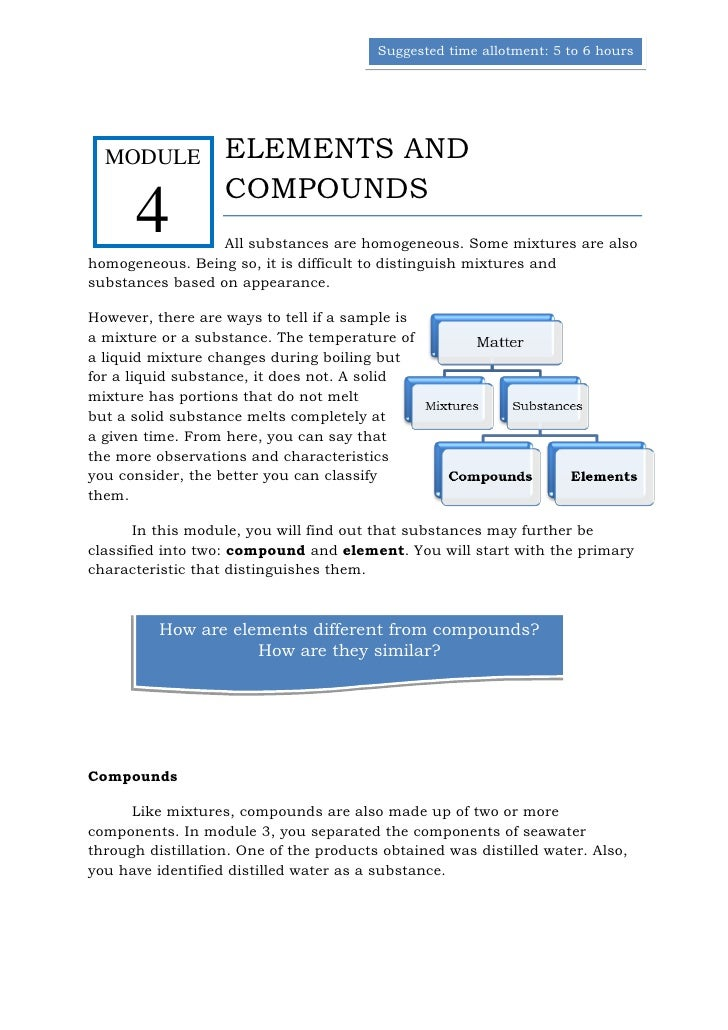 Suggested time allotment: 5 to 6 hours  MODULE           ELEMENTS AND                   COMPOUNDS      4           All sub...