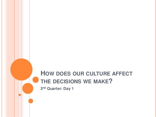 HOW DOES OUR CULTURE AFFECT THE DECISIONS WE MAKE? 2nd Quarter: Day 1