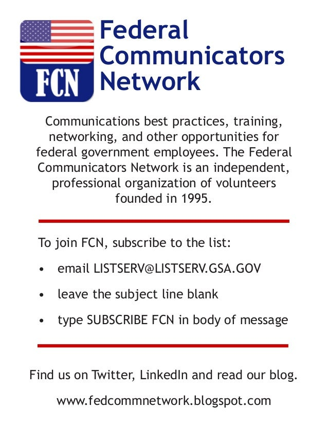 Communications best practices, training, networking, and other opportunities for federal government employees. The Federal...