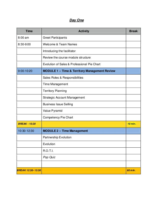 Day One Time  Activity  8:00 am  Greet Participants  8:30-9:00  Break  Welcome & Team Names Introducing the facilitator Re...