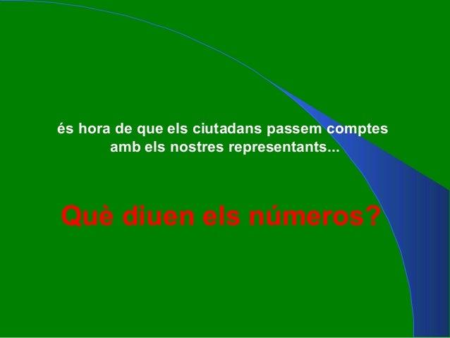 Què diuen els números? és hora de que els ciutadans passem comptes amb els nostres representants...
