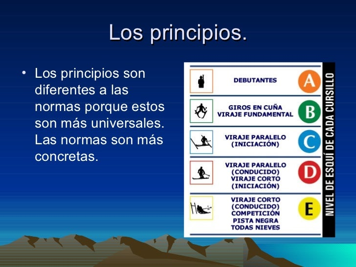Los principios. <ul><li>Los principios son diferentes a las normas porque estos son más universales. Las normas son más co...