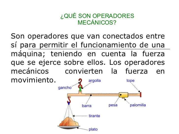 ¿QUÉ SON OPERADORES MECÁNICOS? Son operadores que van conectados entre sí para permitir el funcionamiento de una máquina; ...