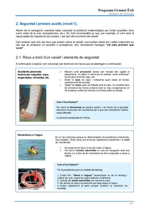 Programa Grumet Èxit Quadern de l'alumnat - 16 - 2. Seguretat i primers auxilis (nivell 1). Abans de la navegació, resulta...
