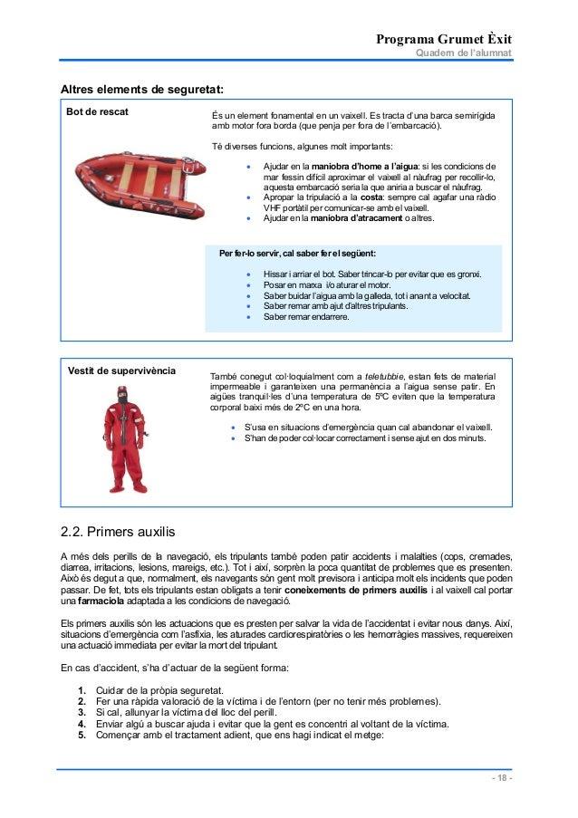 Programa Grumet Èxit Quadern de l'alumnat - 18 - Per fer-lo servir, cal saber fer el següent: • Hissar i arriar el bot. Sa...