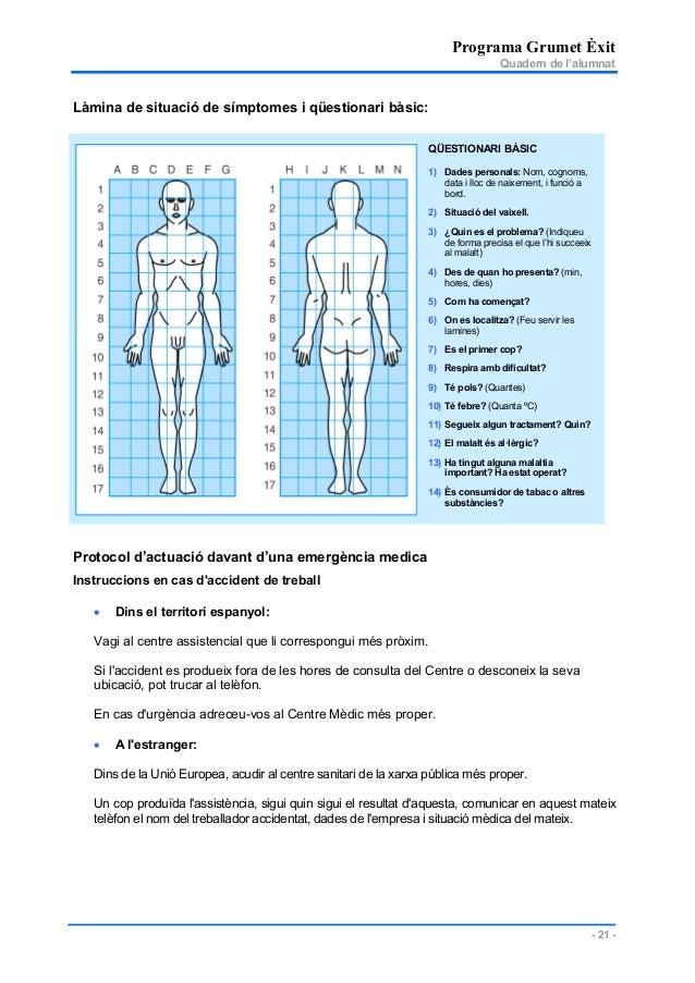 Programa Grumet Èxit Quadern de l'alumnat - 21 - Làmina de situació de símptomes i qüestionari bàsic: Protocol d'actuació ...