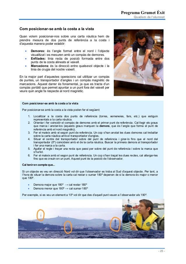 Programa Grumet Èxit Quadern de l'alumnat - 25 - Com posicionar-se amb la costa a la vista Per posicionar-se amb la costa ...
