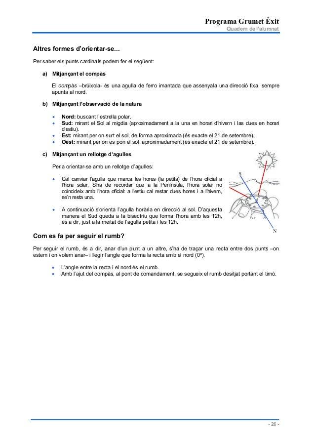 Programa Grumet Èxit Quadern de l'alumnat - 26 - Altres formes d'orientar-se... Per saber els punts cardinals podem fer el...