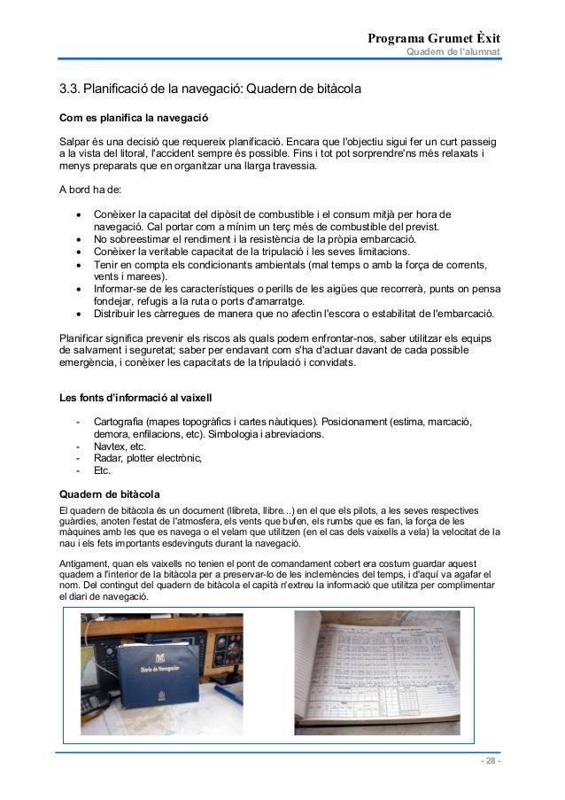 Programa Grumet Èxit Quadern de l'alumnat - 28 - 3.3. Planificació de la navegació: Quadern de bitàcola Com es planifica l...