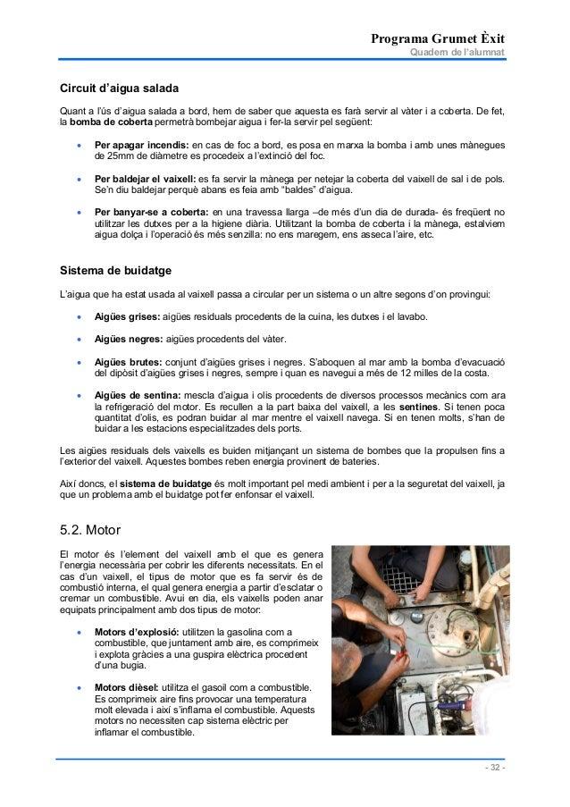 Programa Grumet Èxit Quadern de l'alumnat - 32 - Circuit d'aigua salada Quant a l'ús d'aigua salada a bord, hem de saber q...