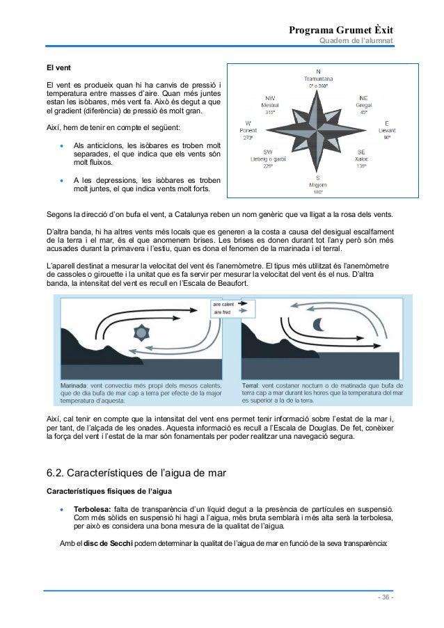 Programa Grumet Èxit Quadern de l'alumnat - 36 - El vent El vent es produeix quan hi ha canvis de pressió i temperatura en...
