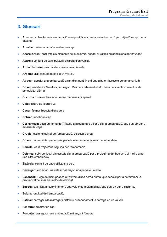 Programa Grumet Èxit Quadern de l'alumnat 3. Glossari • Amarrar: subjectar una embarcació a un punt fix o a una altra emba...
