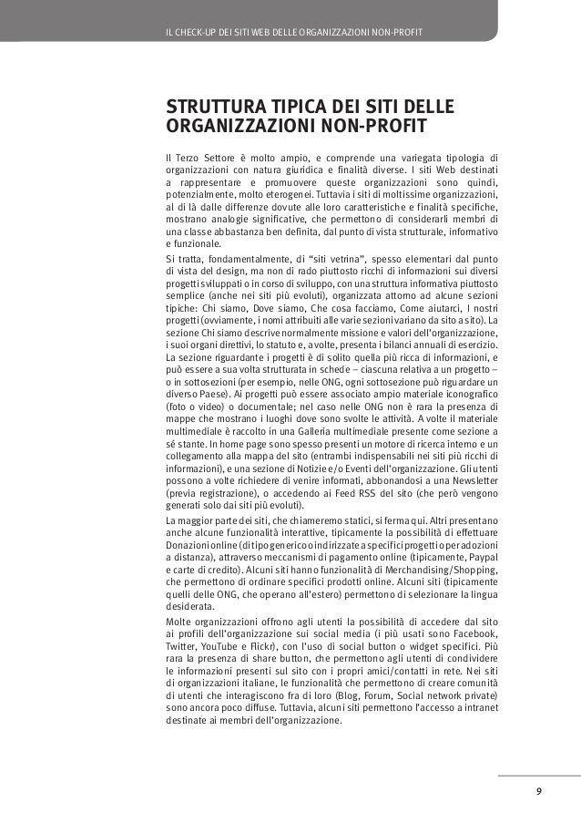 IL CHECK-UP DEI SITI WEB DELLE ORGANIZZAZIONI NON-PROFIT  Un modello di qualità per i siti delle organizzazioni non-profit...