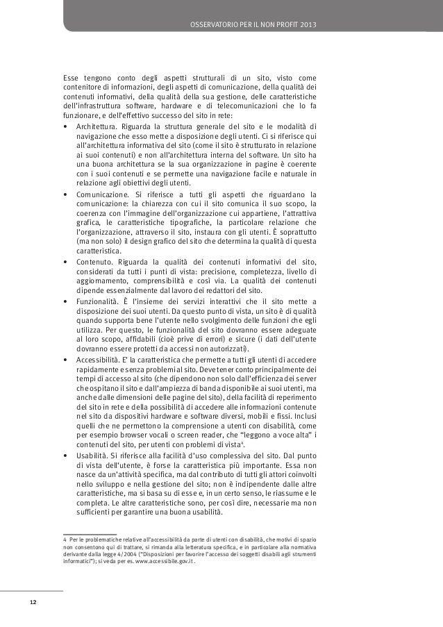 osservatorio per il non profit 2013  Figura 5: Il profilo di qualità di un sito Web  ArchiteƩura Data centre  Comunicazion...
