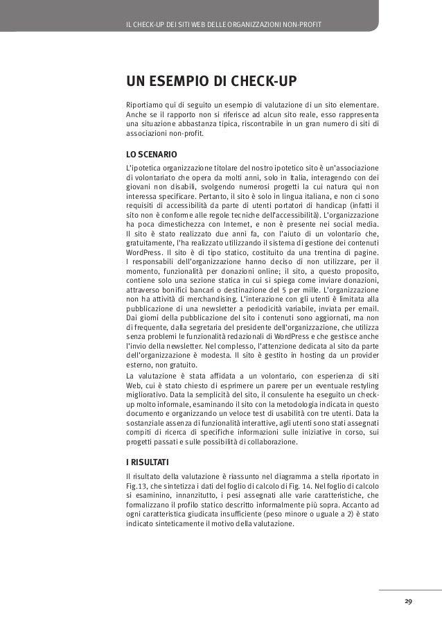 IL CHECK-UP DEI SITI WEB DELLE ORGANIZZAZIONI NON-PROFIT  Figura 14: Il foglio di calcolo compilato per l'esempio  Comunic...