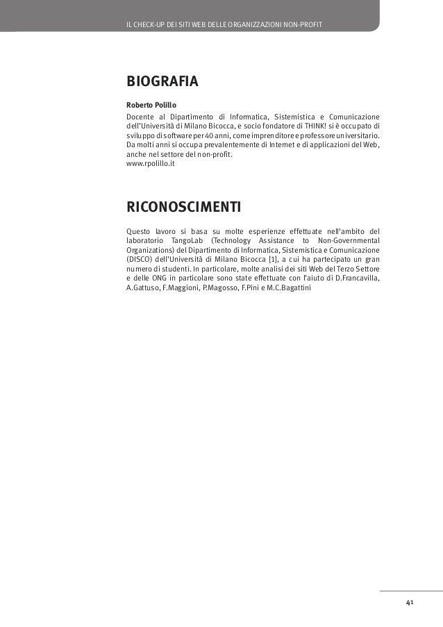 IL CHECK-UP DEI SITI WEB DELLE ORGANIZZAZIONI NON-PROFIT  Riferimenti 1. Polillo, R., La presenza sul Web delle organizza...