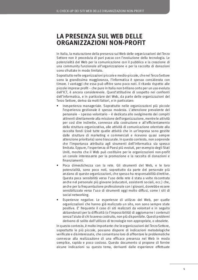 IL CHECK-UP DEI SITI WEB DELLE ORGANIZZAZIONI NON-PROFIT  ospitato sui computer di un fornitore di servizi di hosting, che...