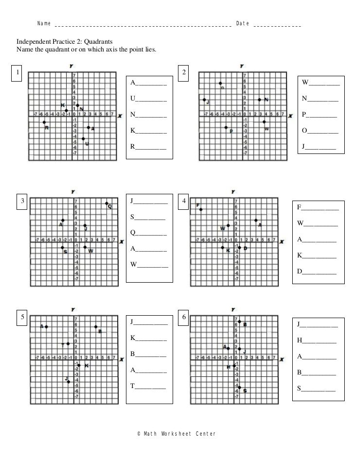 Quadrant worksheet