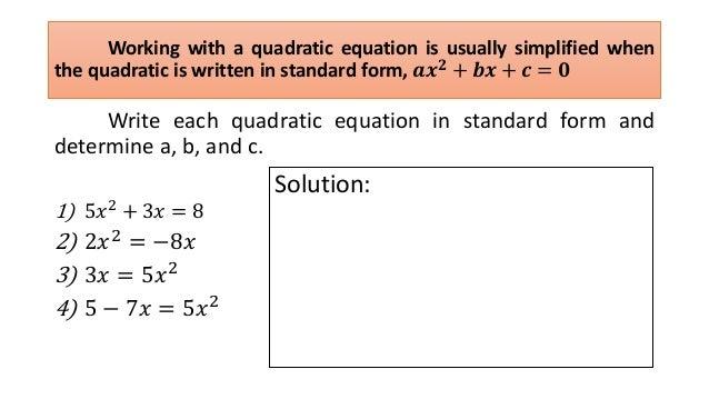 Quadratic Equations And Function