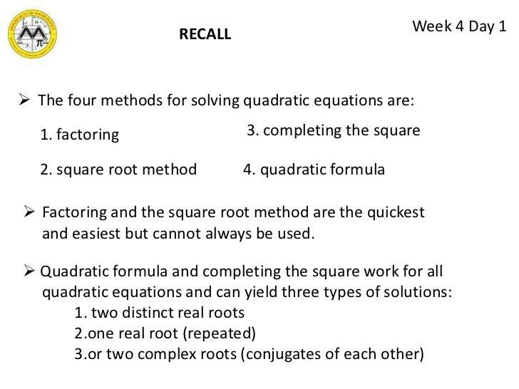 Quadratic equations lesson 3