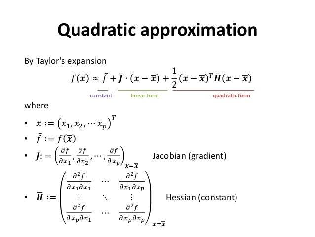 Quadratic form and functional optimization